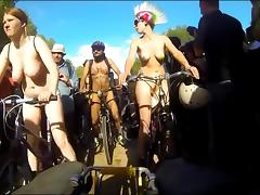 Nudists on public bikes