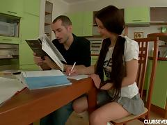 Her study session is interrupted when he fucks her on the table porn tube video