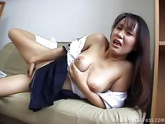 Asian girl in a uniform finger fucks herself and cums hard porn tube video