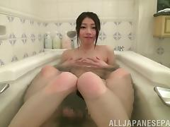 Hard dick invades a beautiful wet Japanese pussy until she cums