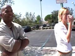 Petite blonde slut gets rammed by two massive black cocks