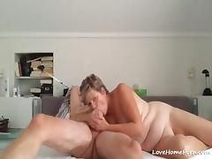 Guy fucks his chubby mature lover hard on the bed