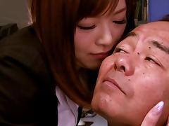 Naughty Japanese businesswoman gets nasty in the office