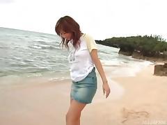 Enticing Japanese MILF slut likes fucking outdoors on the beach tube porn video