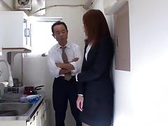Fantastic slim Japanese MILF gets fucked by her boss