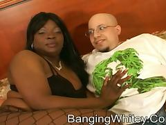 Hot chubby black woman gets pleasure from his dick