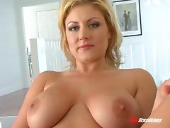 Tubby tattooed cougar with huge melons and a wet snatch riding a massive black pecker