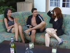 Buxom redhead invites her friend offer for a kinky ffm threesome with her hubby