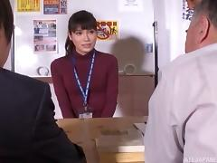 Japanese office slut in lingerie gets fucked by three men at work tube porn video