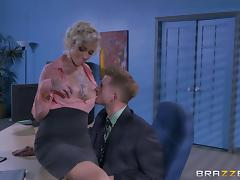Slutty blonde secretary with big boobs gets nasty in the office porn tube video