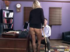 A big titty gal in black fishnet enjoys thrilling in various positions porn tube video