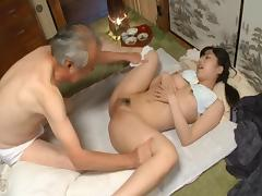 Kana Yume kind enough to have her grandpa suck from her honey pot porn tube video
