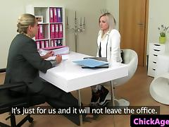 Agent showing shy newbie how to toy pussy