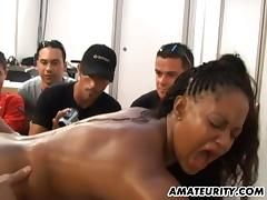 Group of guys watch as a black girl gets fucked by a white guy tube porn video