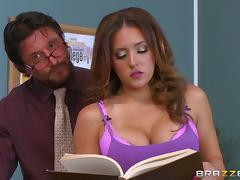 Naughty busty teacher receives a hardcore dicking and a facial