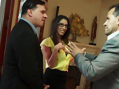 The boss's wife fucks the new guy at office while her husband is in a meeting porn tube video