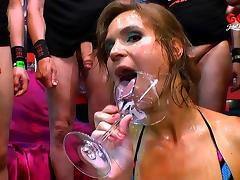Her mouth and hands are busy when she does an oral gangbang