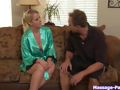 Busty blonde is much better at giving blowjobs than massaging