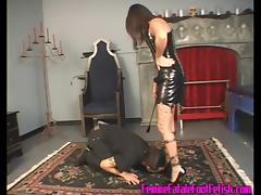 Fishnet-clad brunette with a hot body getting her toes sucked