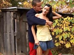 Gorgeous and dark-haired babe gets her asshole ripped hardcore in this outdoors scene