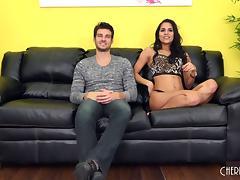 Kinky long legged Latina woman receives a creamy facial