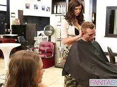 Babes at the hair salon double team a big cock client porn tube video