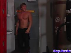 Lockerroom jocks tugging until cumshot after anal
