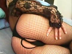 Redhead Tranny In Fishnet Gets Ass Stretched