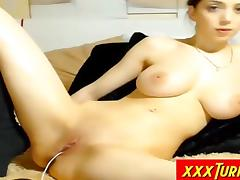 Beautifull Busty Teen Rubs His Shaved Pussy tube porn video
