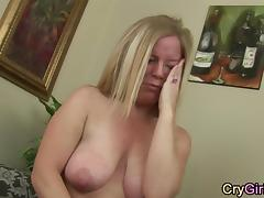 housewife crying after intense orgasm
