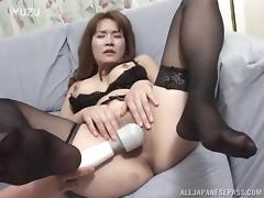 Lingerie wearing Japanese babe gets her ass plowed