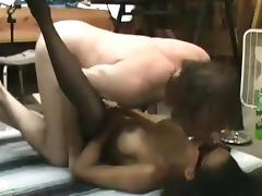 White old man fucks a black girl on the floor at his place tube porn video