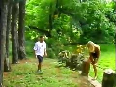 Hot action in the woods porn tube video