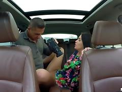 Good road head leads to a hardcore fuck in the back seat porn tube video