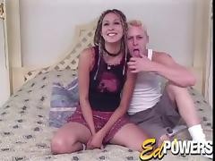 Pierced bitch with braided hair strips butt naked for a guy