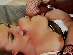Sexy Blonde MILF Satisfied By Many BBC tube porn video
