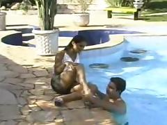 Outdoor hot sex poolside