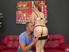 A couple fucks then she sucks the cum out of his cock