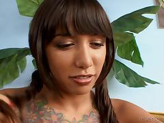 Brunette babe in knee socks lets a guy bang her ass