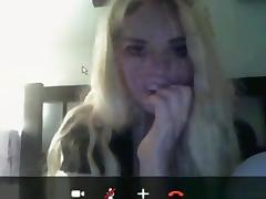 Dude captures his blonde gf playing with herself on skype