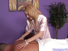 Babes double team the dude on the massage table