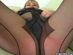 British milfs Alisha Rydes and Diana in sexy pantyhose tube porn video