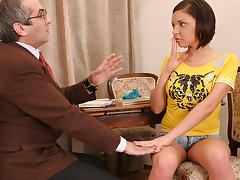 TrickyOldTeacher - Flirty sexy blonde student gives teacher blowjob and fucking today