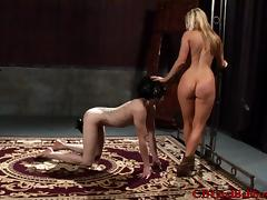 Curvy dominatrix with long blonde hair getting her asshole licked porn tube video