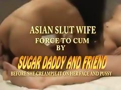 Asian slut wife has a threesome with her husband and a friend porn tube video