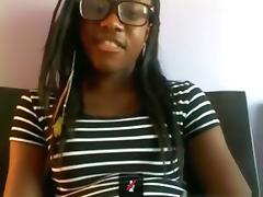 Black nerd with glasses masturbates with a hairbrush on her bed on skype tube porn video