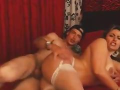 busty latin cougar cum on boobs
