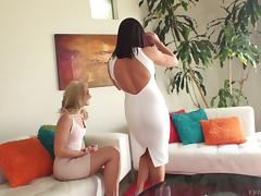 Tight dresses on two sexy sluts having an anal threesome