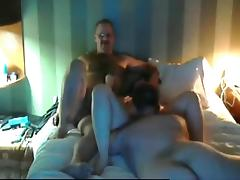 Cuckold like a boss. watching his wife getting fucked by a stranger next to him on the bed. tube porn video