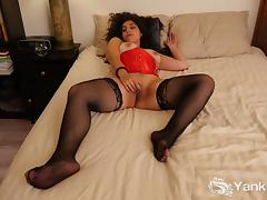 Brunette In Fishnets Catalina Masturbating